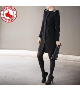 Manteau élégant strass noir