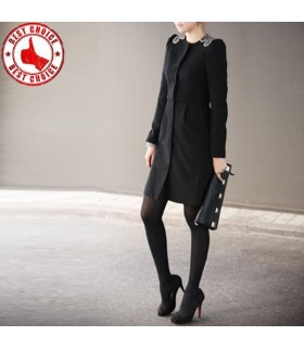 Stylish rhinestone black coat