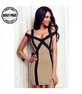 Tiefer V-Ausschnitt Kleid
