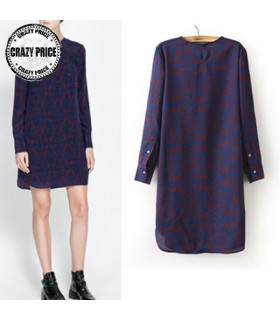 Crew neck long sleeve chiffon dress