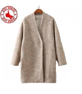 Abricot manteau de laine de style lâche