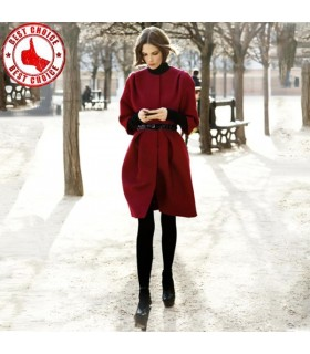 Wine red wool coat with belt