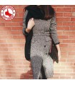 Grey V-neck long slim coat
