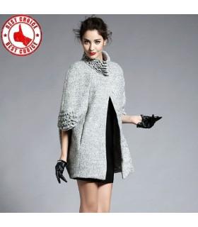 Noble élégante manteau de laine de mouton collier manteau