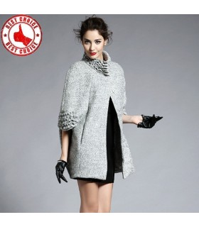 Noble elegant sheep woolen stand collar cloak