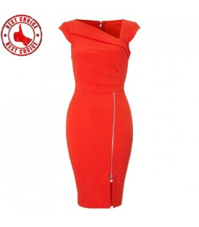 Red Shift Dress Fashion Office Bodycon Dress