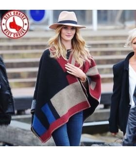 Poncho coperta in lana e cashmere