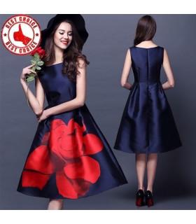 Drucken Rose Kleid