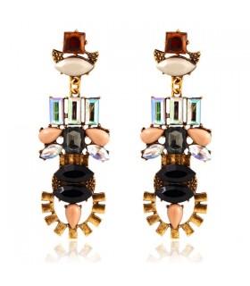 Acryliques royale vintage cristal géométrique oreilles pompon