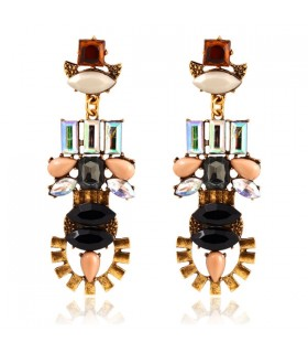 Vintage royal acrylic geometric crystal tassel earrings