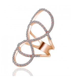 Infinity rose gold  plated  zircon ring