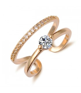 Double zircon crystal gold plated ring
