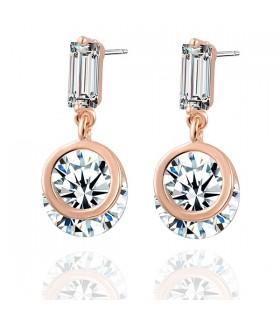 Geometrische Kristallbolzen vergoldet Ohrringe
