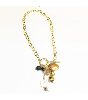 Perline dorate collana casuale