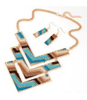 Marrone e blu gioielli set etnico