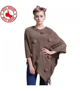 Wool fur ball poncho