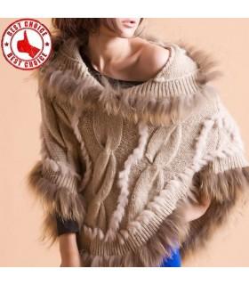 Rabbit Fur tricotée et fourrure de raton laveur col Poncho