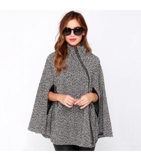 Revers de laine poncho gris