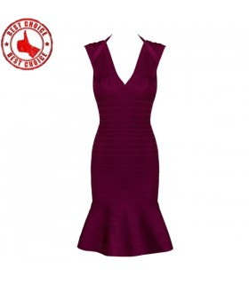 Dark red sexy v neck bandage dress