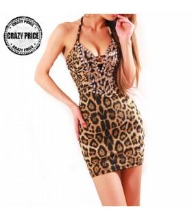 Vestito corto donne sexy del leopardo del mini vestito