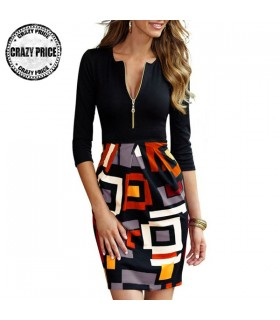 Geometric Print Front Zipper dress