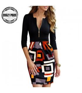 Geometrische Print Frontreißverschluss Kleid