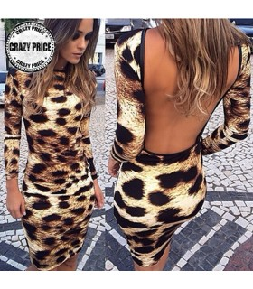 Women Sexy Leopard Mini Dress Short dress