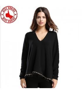 Lange Ärmel V-Ausschnitt Pullover Quaste