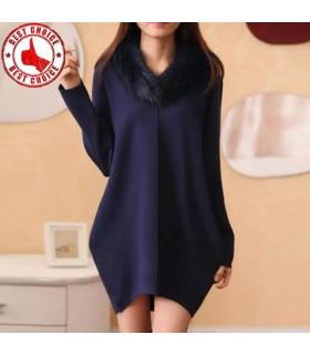 Robe bleue de qualité tricoté