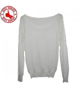 Weiße Perle gestrickten Pullover