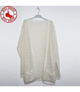 Weiß offen Pullover mit Goldfäden