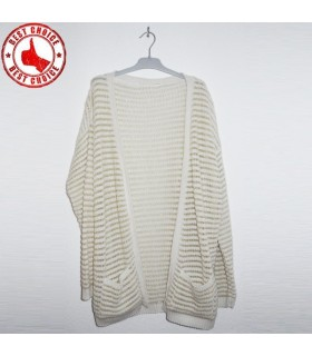 White open sweater with gold thread