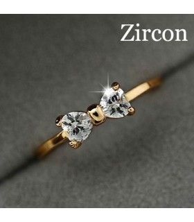 Bow crystal gold plated ring