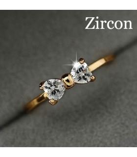 Schleife Kristall gold vergoldet Ring