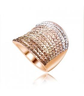 Cristallo austriaco oro rosa placcato anello