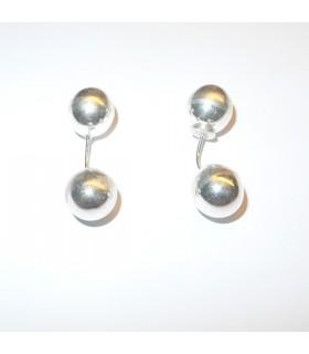 Boules rondes d'argent boucles d'oreilles