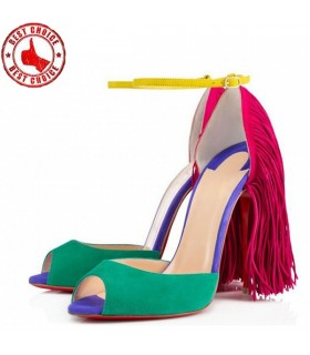 Colored suede high heels sandals