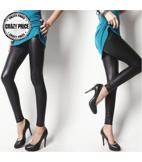 Glänzende schwarze Leggings