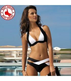 Weiße und schwarze sexy Badeanzug