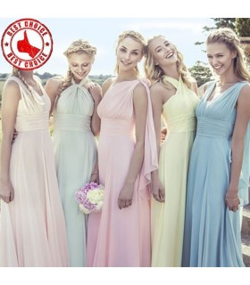 Five pastel bridesmaid dresses