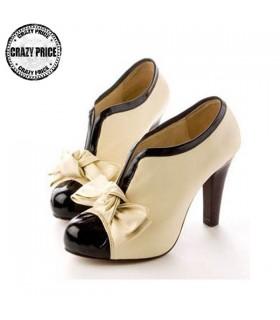 Vintage V-apertura scarpe bowknot