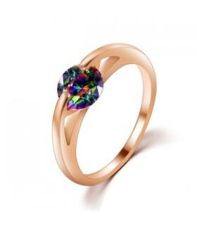 Color oro pietra zirconia anello placcato