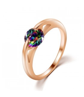 Colored zirconia stone gold plated ring