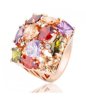 Colorful austrian crystal big gold plated ring