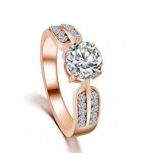 Cristallo oro Charming anello placcato