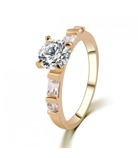 Classic crystal gold plated ring