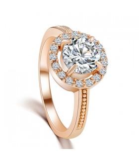 Bianco perline di cristallo con strass anello placcato oro