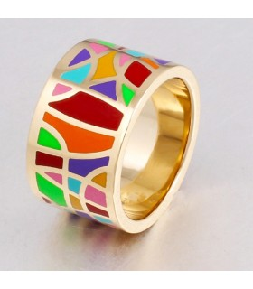 Ceramic colored gold plated ring