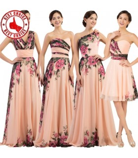 Four flower print chiffon bridesmaids dresses