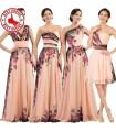 Vier Blumendruck Chiffon Abendkleider